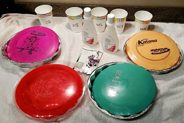 disc golf disc dye setup