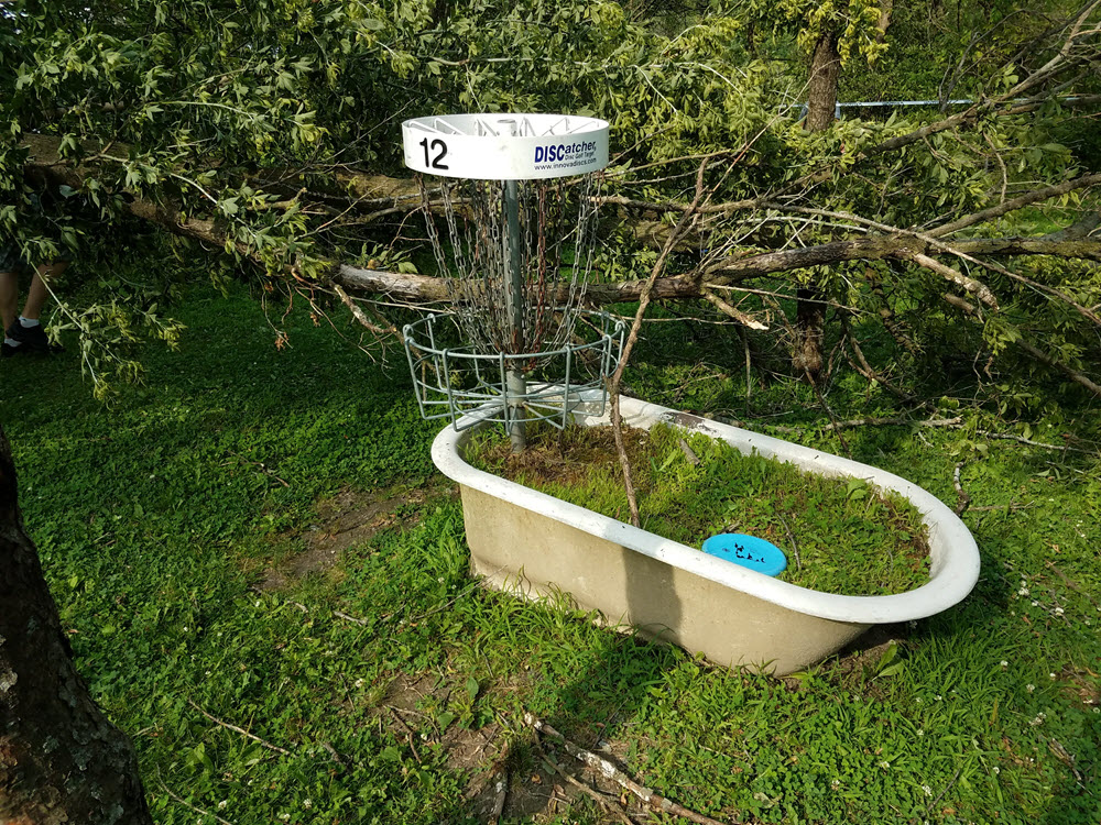 disc golf basket bathtub