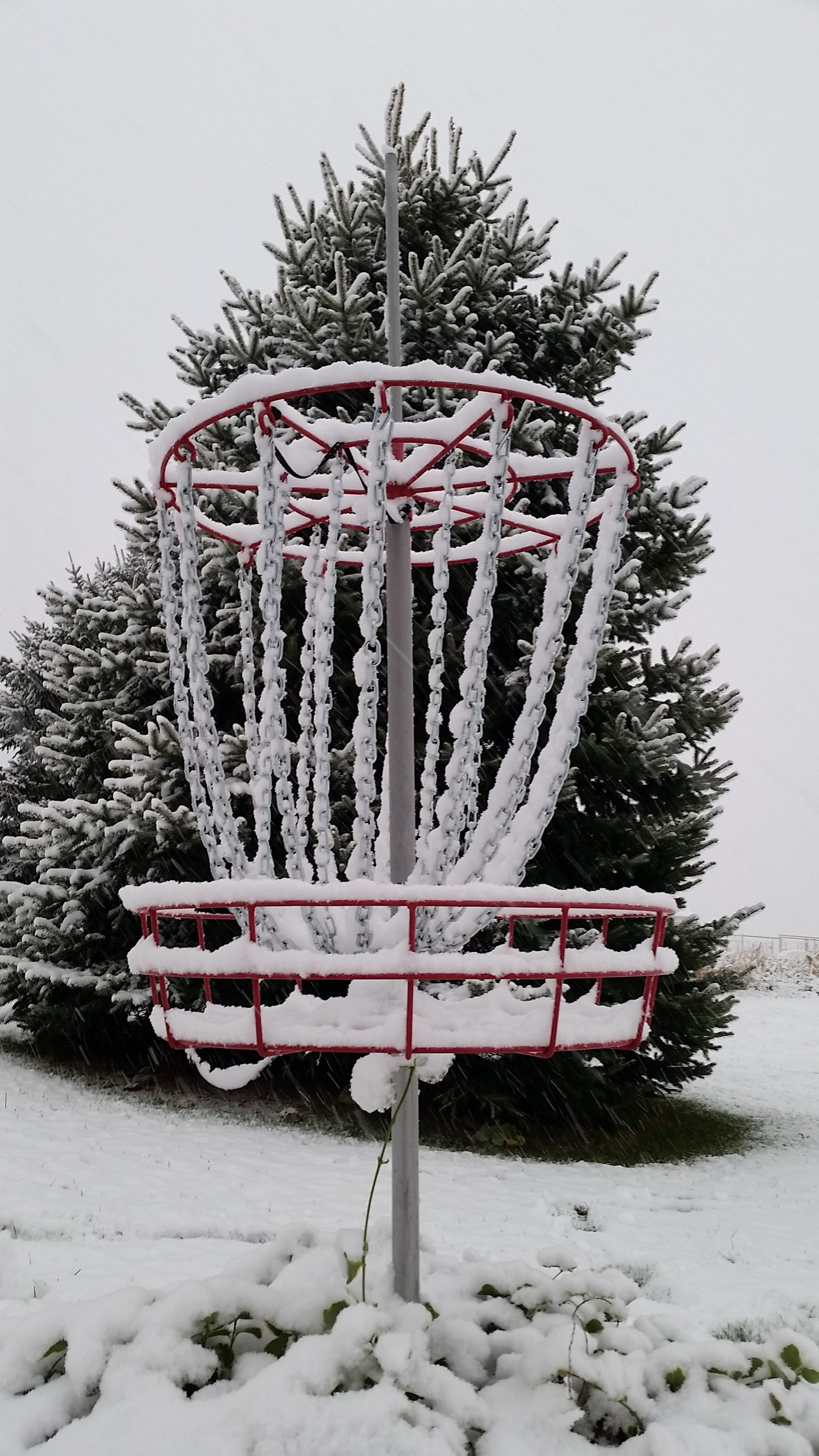 disc golf basket snow winter