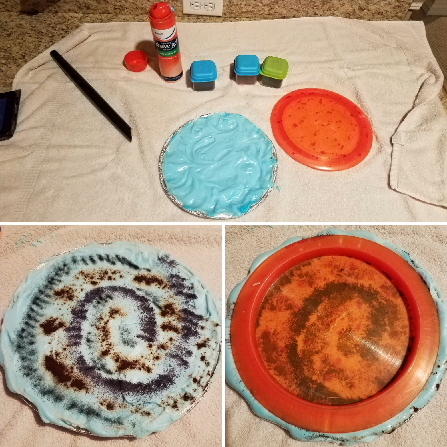 disc golf shaving cream dye method