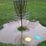 disc golf basket rain water