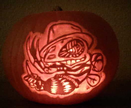 disc golf pumpkin freddy krueger